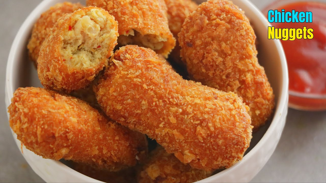 చికెన్ నగ్గెట్స్ | How to make Homemade crispy Chicken Nuggets Recipe in Telugu by Vismai Food