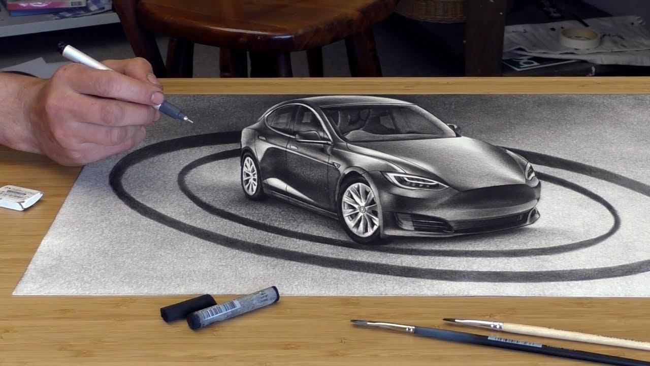 Auto 3D Zeichnung /Anamorphe Optische Täuschung - YouTube