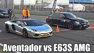 Mercedes AMG E63S Sedan Vs Ferrari F12 Vs Lamborghini Aventador