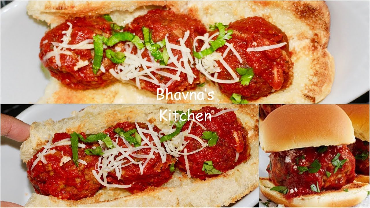 Vegetarian Meatballs Sliders Video Recipe | Meatballs Sub Sandwich Bhavna's Kitchen