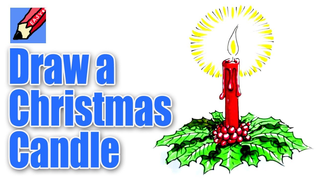 How to draw a Christmas Candle Decoration - YouTube