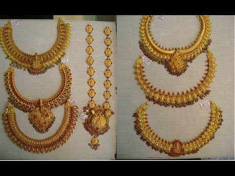 Latest Traditional Gold Antique Jewellery Designs/Long Haaram Designs in 50 Grams
