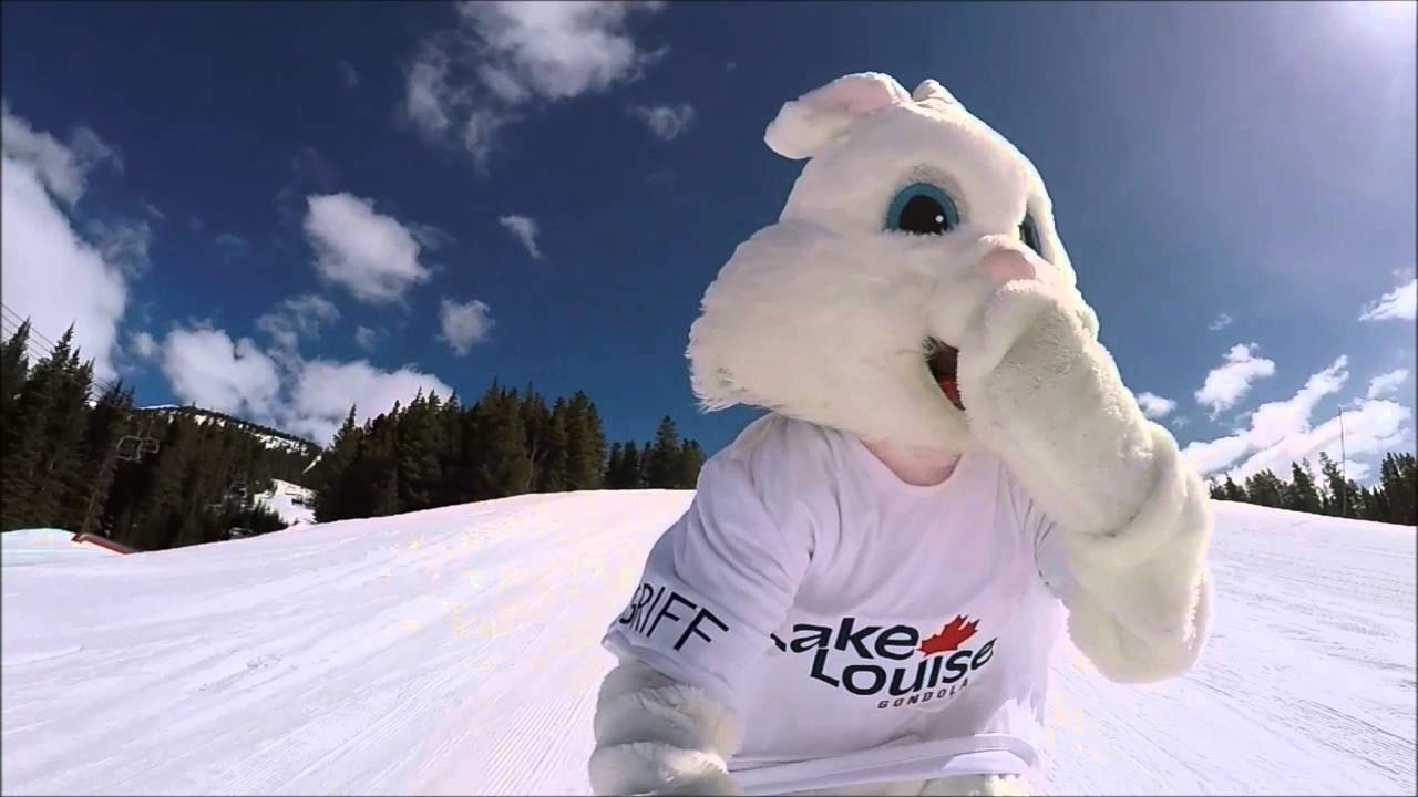 The Easter Bunny just had to check out the terrain park at Lake Louise