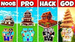 Minecraft: FAMILY JAPANESE HOUSE BUILD CHALLENGE - NOOB vs PRO vs HACKER vs GOD in Minecraft