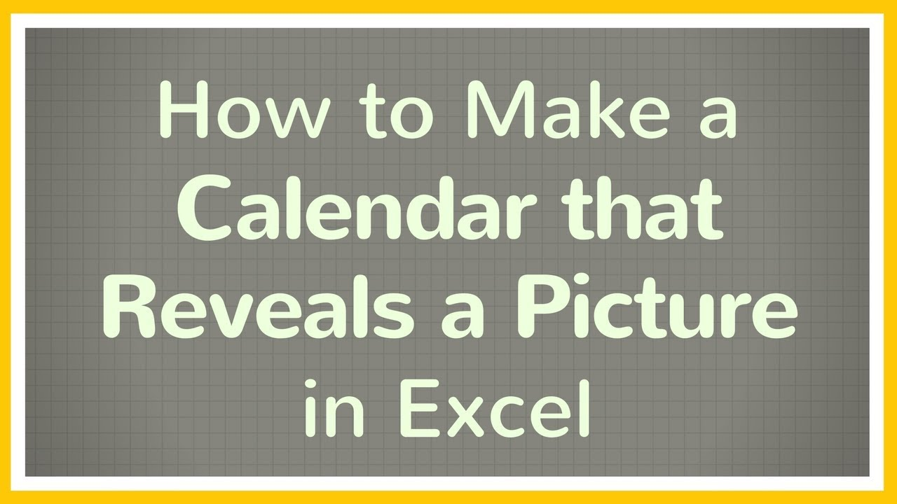 how to make a calendar on excel