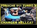 Porsche 911 Turbo S & Charger Hellcat l BIG FUN - Flying Uwe