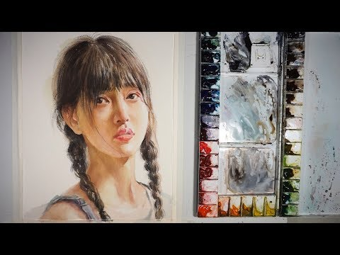 Watercolor painting portrait of girl
