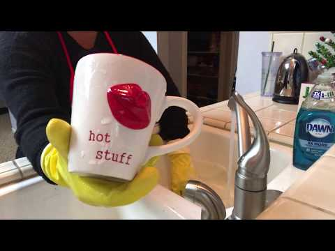 ASMR Washing Dishes with Yellow Gloves