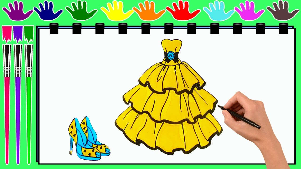 coloring pages princess dress and shoes drawing pages to color