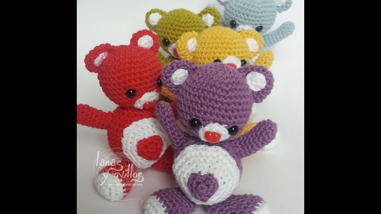 Lanas Y Ovillos Cactus Amigurumi : Tutorial Oso Corazon Amigurumi Heart Teddy Bear (English ...