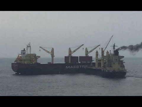 Cargo Ships Collision in Rough Sea