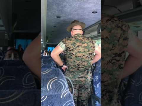 Palm Bay MCJROTC meets Drill Instructor Sgt Waldo! Parris Island SC, July 2017. Rah! 🇺🇸