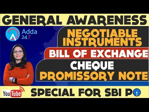SBI PO 2017 || GA SHOW || NEGOTIABLE INSTRUMENTS || BILL OF