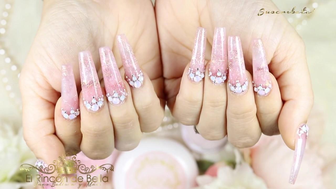 Unas Acrilicas Largas Pink Con Piedras Youtube