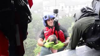 Hurricane Harvey: 8-27-17. Coast Guard Aircrew Hoist More Stranded Survivors From Rooftop.