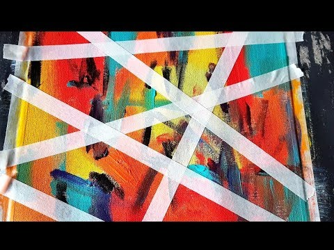 Simple And Colorful Abstract Painting Using Acrylics Masking Tape Demonstration