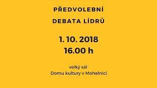 Předvolební debata lídrů ve velkém sále domu kultury v Mohelnici