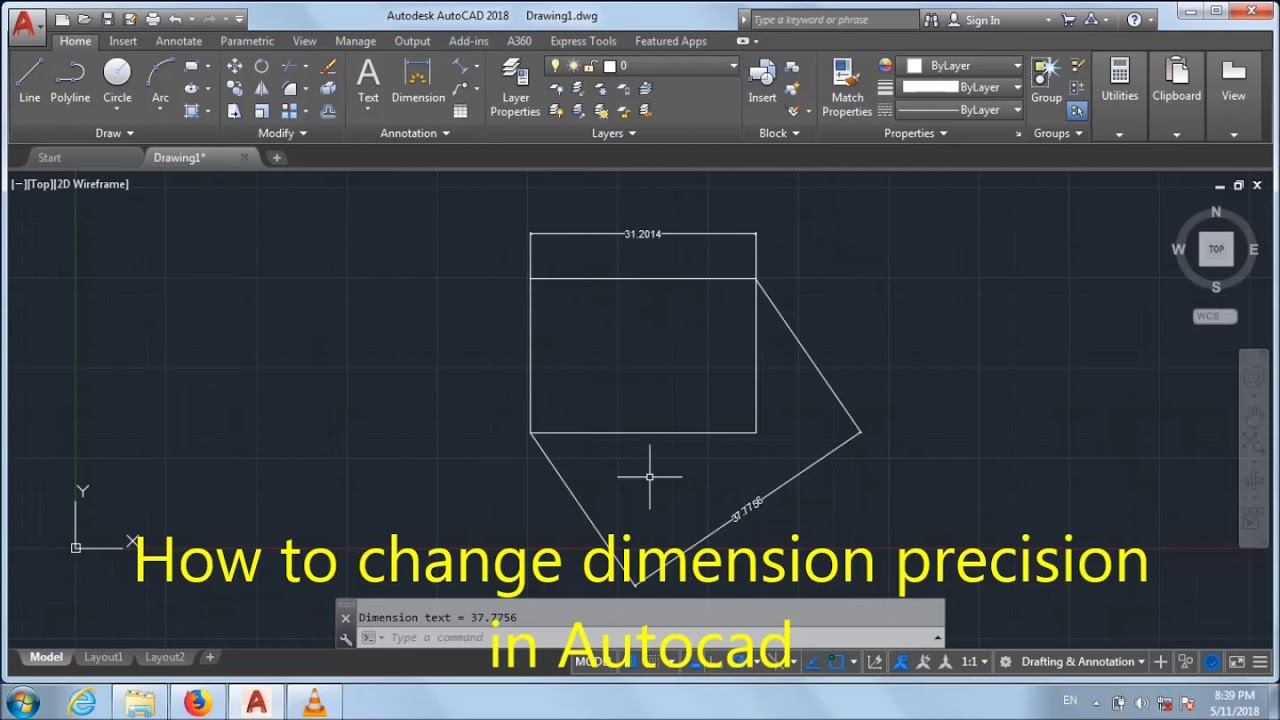 how to change dimension precision in Autocad