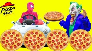 Spiderman GETS PIZZA at Pizza Hut DRIVE-THRU Compilation w/ Fr…