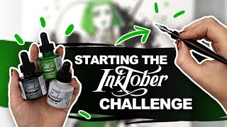 USING INDIA INK & DIP PENS for the FIRST TIME! | Inktober Plans and Goals | Inktober Day 01