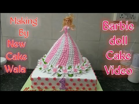 Barbie doll Cake How to make fancy decorations cake making by New Cake Wala