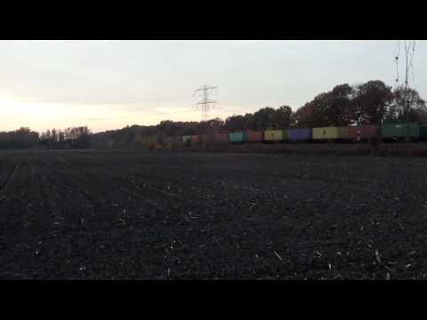 Crossrail Class66 with Container Train at America,Limburg, the Netherlands,Nov 2,2011