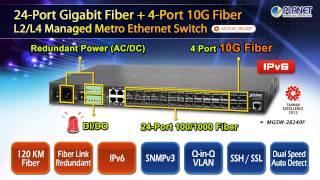 24-Port Gigabit Fiber + 4-Port 10G Fiber L2/L4 Managed Metro Ethernet Switch (MGSW-28240F)