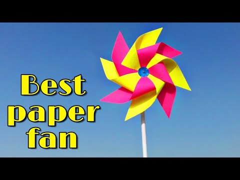 how to make paper fan ; how to make paper windmill ; paper toy fan for kids;fair toy