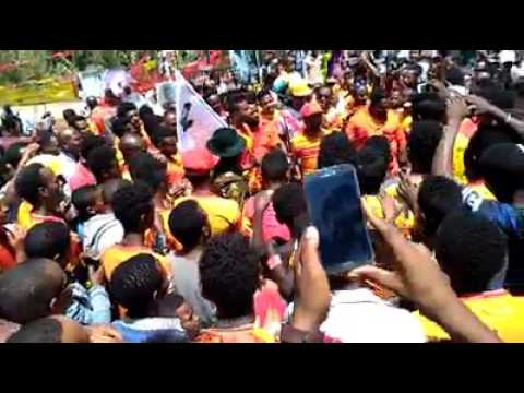 St George FC Supporters celebrating Adwa Victory at Menelik II square   Addis Ababa