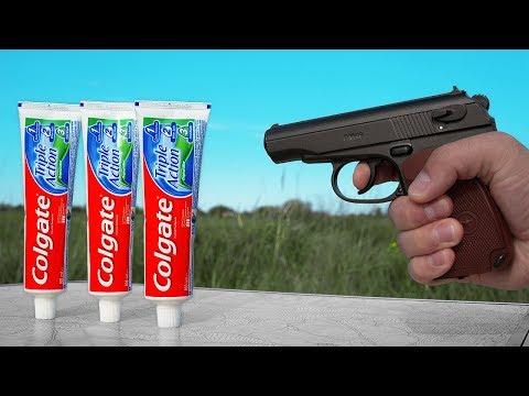 CRAZY TEST: GUN VS TOOTHPASTE