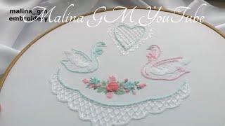 Hand Embroidery: wedding embroidery | Вышивка: Два лебедя| Servilletas Para Boda
