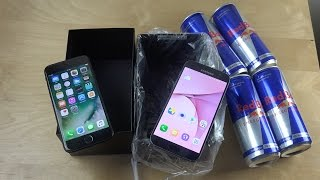 iPhone 7 vs. Samsung Galaxy S7 Red Bull Freeze Test! Will They Survive?