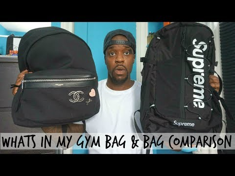what's-in-my-gym/work-bag-+-supreme-vs.-saint-laurent-backpack-comparison!