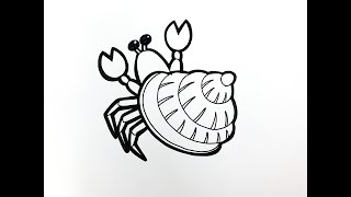 Draw Hermit Crab: How To Draw Hermit Crab