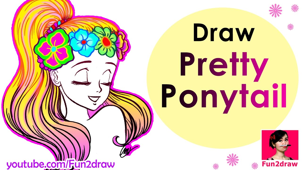 Uncategorized How To Draw A Pony Tail how to draw a pretty ponytail super easy hair youtube hair