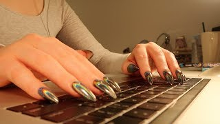 TYPING ON MACBOOK PRO KEYBOARD FOR 40 MINS NO-TALKING ASMR || LONG BLACK HOLO ACRYLIC NAILS TYPING