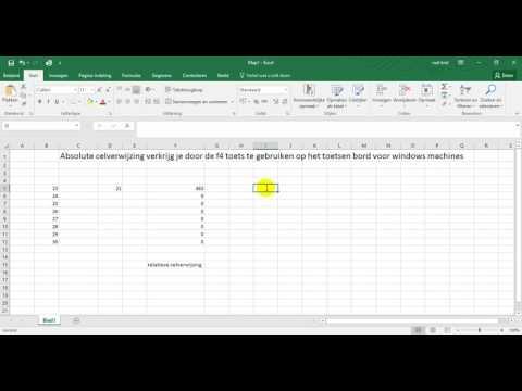 Absolute celverwijzing Excel MS