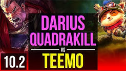 DARIUS vs TEEMO (TOP) | Quadrakill, 2.2M mastery points, KDA 10/1/5 | Korea Diamond | v10.2