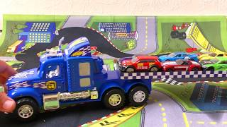 BLUE CAR TRUCK WITH 10 HOT WHEELS CARS VIDEO FOR KIDS
