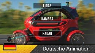 Autonomes Fahren / Selbstfahrendes Auto - Funktionsweise (Animation)