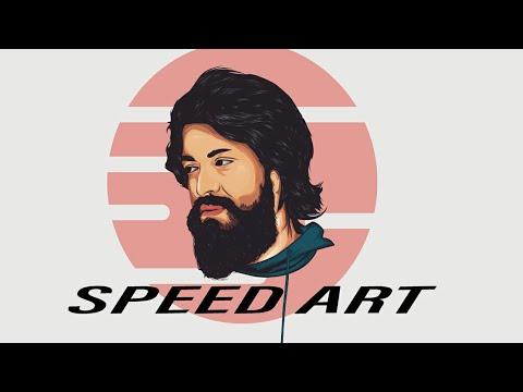 Yash:-speed art |adobe illustrator cc2019 make yourself cartoon| KGF