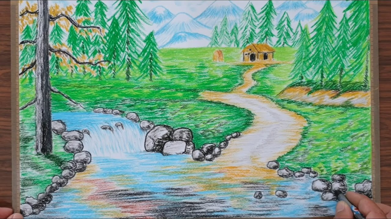 Vẽ tranh phong cảnh bằng sắp màu đơn giản