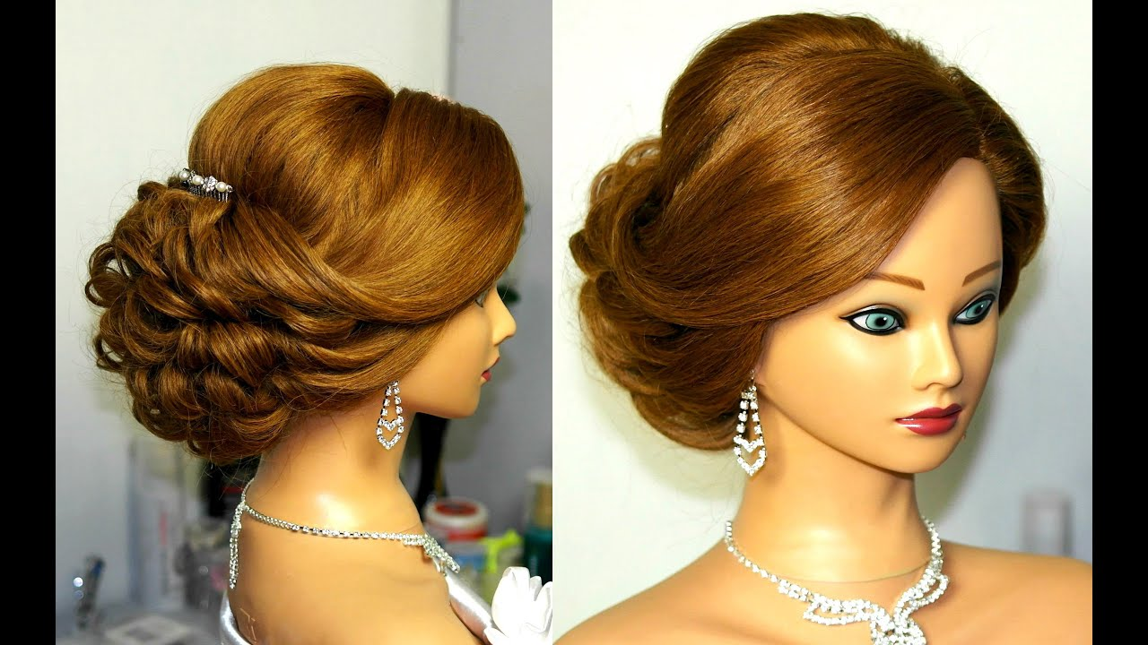 Hairstyle Video On Youtube : Bridal updo. Romantic hairstyle for medium hair. - YouTube