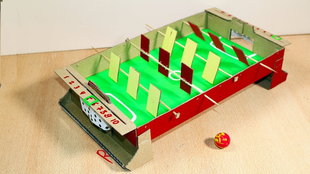 How To Make Table Soccer Football Toy From Cardboard Youtube