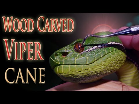 Carving A Bamboo Pit Viper And Cicada Walking Cane