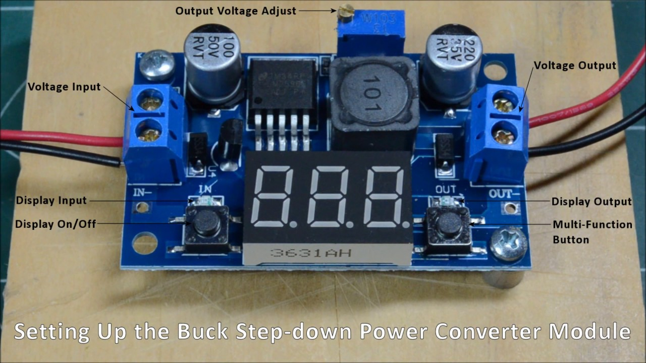LM2596 DC-DC Buck Converter Step Down Power Module+LED Voltmeter output 1.25-37V