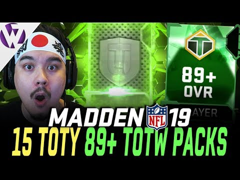 15 TOTY 89+ TOTW PACKS!! Best Set In The Game? - Madden 19 Pack Opening