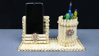 Homemade Pen stand and Mobile phone holder with ice cream sticks   best out of waste