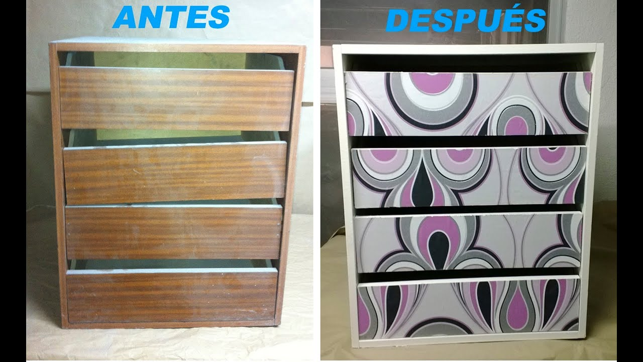 C mo decorar un mueble con papel pintado paso a paso youtube - Papel autoadhesivo para decorar ...