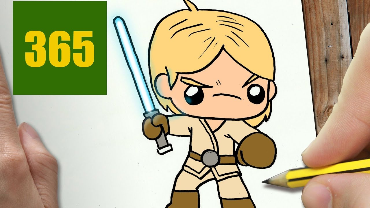 Comment Dessiner Luke Skywalker Kawaii étape Par étape Dessins Kawaii Facile